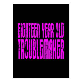 Girls Funny Birthday Eighteen Year Old Troublemake Postcard