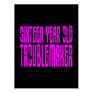 Girls Funny Birthday Sixteen Year Old Troublemaker Postcard