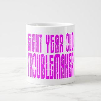 Girls Funny Birthdays  Eight Year Old Troublemaker Large Coffee Mug
