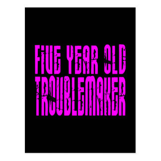 Girls Funny Birthdays  Five Year Old Troublemaker Postcard