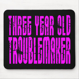 Girls Funny Birthdays  Three Year Old Troublemaker Mouse Pad
