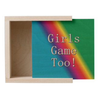 Girls Game Too Rainbow Wood Keepsake Box