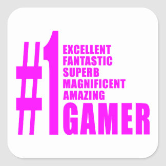Girls Gaming Gamers : Pink Number One Gamer Square Stickers