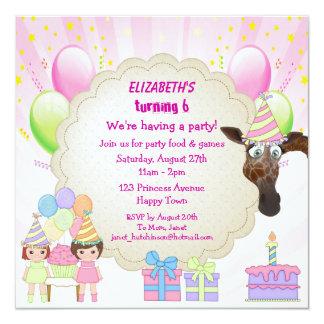 Funny birthday cake invitations announcements zazzle girls giraffe amp birthday cake party invites stopboris Gallery