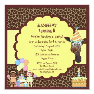 Girls, Giraffe & Cake Animal Print Party Invites