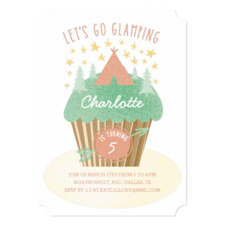 Girls Glamping Birthday Party Invitation
