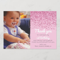 Girls glitter birthday thank you card