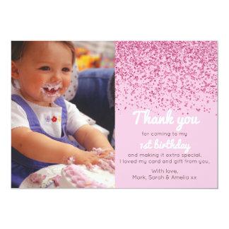 Girls glitter birthday thank you card