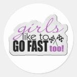 Girls Go Fast Classic Round Sticker