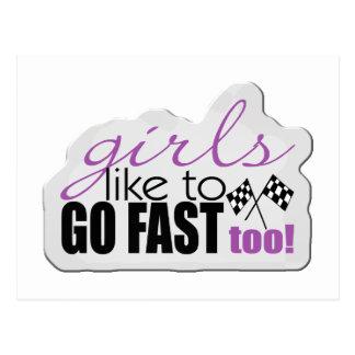 Girls Go Fast Postcard