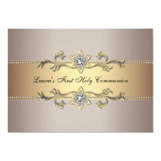 "Girls Gold First Holy Communion Invitation 5"" X 7"" Invitation Card"