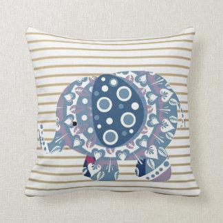 Girls Gold Stripe Navy Mandala Elephant Pillow