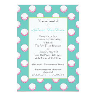 Girls Golf Ball Party Invite- Lime, Pink & Aqua Card