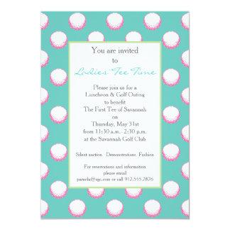Girls Golf Ball Party Invite- Lime, Pink & Aqua Custom Announcements