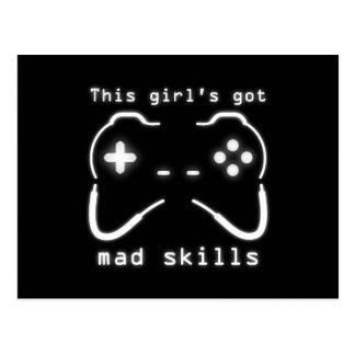 Girl's Got Mad Skills Video Game Controller Postcard
