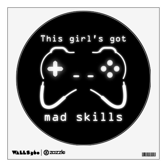 Girl's Got Mad Skills Video Game Controller Wall Decal