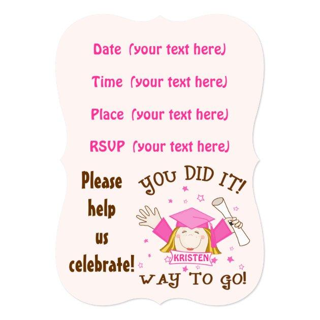 Girl's Graduation Party Invitation (back side)