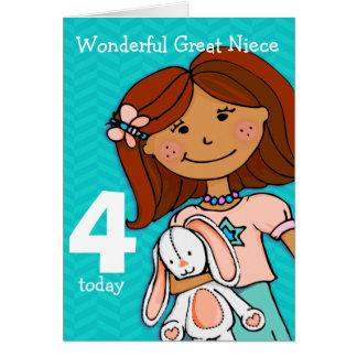 Girls great Niece 4th birthday card girlie aqua