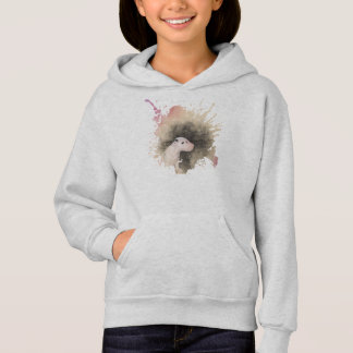 Girls Grey Hoodie with Bull Terrier Puppy Design