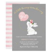Girls Grey Pink Bunny Baby Shower invitation