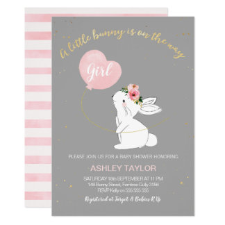 Girls Grey Pink Bunny Baby Shower invitation