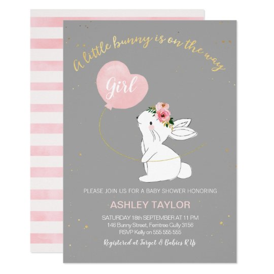 S Grey Pink Bunny Baby Shower Invitation