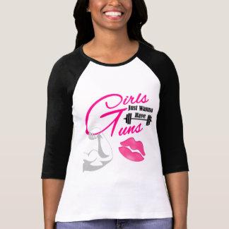 """""""Girls/Guns"""" Ringer 3/4 Sleeves Women's TSHIRT"""