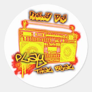 girls guys rap urban dance crunk hip-hop music classic round sticker
