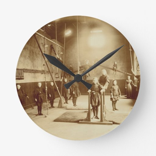 Girl's Gymnasium at the Deaf and Dumb Institution, Round Wallclock