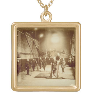 Girl's Gymnasium at the Deaf and Dumb Institution, Square Pendant Necklace
