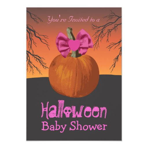 girls halloween baby shower invitations zazzle