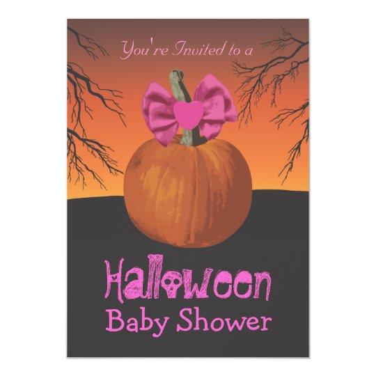 Girls Halloween Baby Shower Invitations