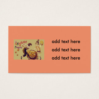 Girls Halloween Party Jack O' Lantern Pumpkin Business Card