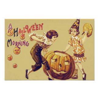 Girls Halloween Party Jack O' Lantern Pumpkin Photo Print