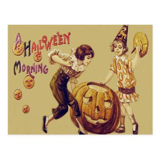 Girls Halloween Party Jack O' Lantern Pumpkin Postcard