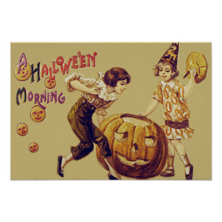 Girls Halloween Party Jack O' Lantern Pumpkin Poster