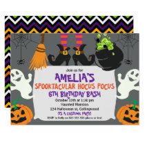Girls Halloween Spooktacular Birthday Invitation
