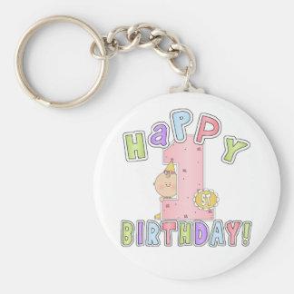 Girls Happy 1st Birthday Basic Round Button Keychain