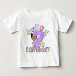Girls Happy 2nd Birthday,African American Baby T-Shirt