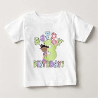 Girls Happy 3rd Birthday,African American Baby T-Shirt