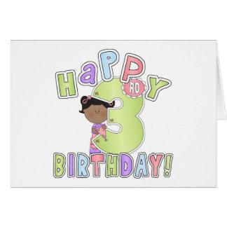 Girls Happy 3rd Birthday,African American Card