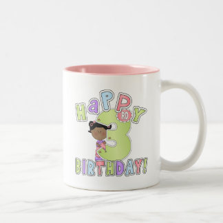 Girls Happy 3rd Birthday,African American Two-Tone Coffee Mug