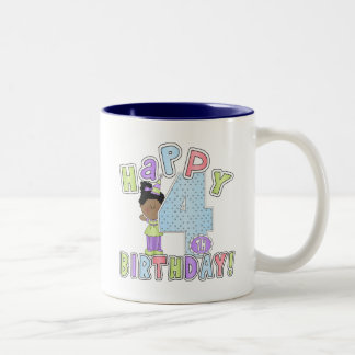 Girls Happy 4th Birthday,African  American Two-Tone Coffee Mug