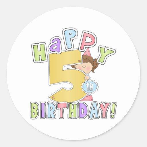 Girls Happy 5th Birthday Classic Round Sticker