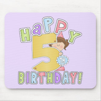 Girls Happy 5th Birthday Mouse Pad