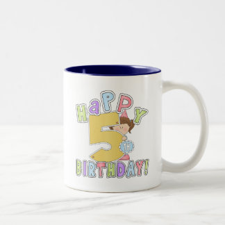 Girls Happy 5th Birthday Two-Tone Coffee Mug