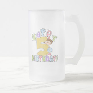 Girls Happy 5th Birthday 16 Oz Frosted Glass Beer Mug