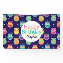 Girls Happy Birthday Blue Owl Pattern Personalized Banner