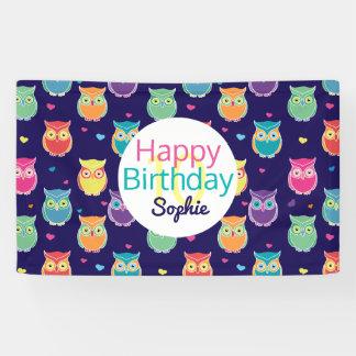 Girls Happy Birthday Blue Owl Pattern Personalized Banner