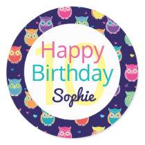 Girls Happy Birthday Blue Owl Pattern Personalized Classic Round Sticker